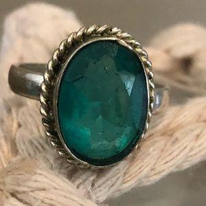 Teal gemstone & Sterling Silver Ring